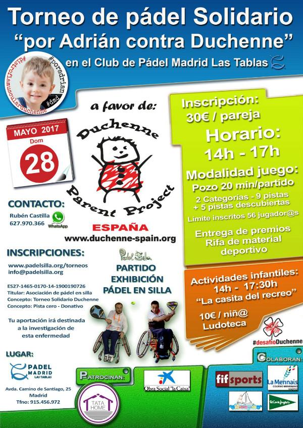 """cartel torneo solidario de pádel """"por Adrián contra Duchenne"""""""