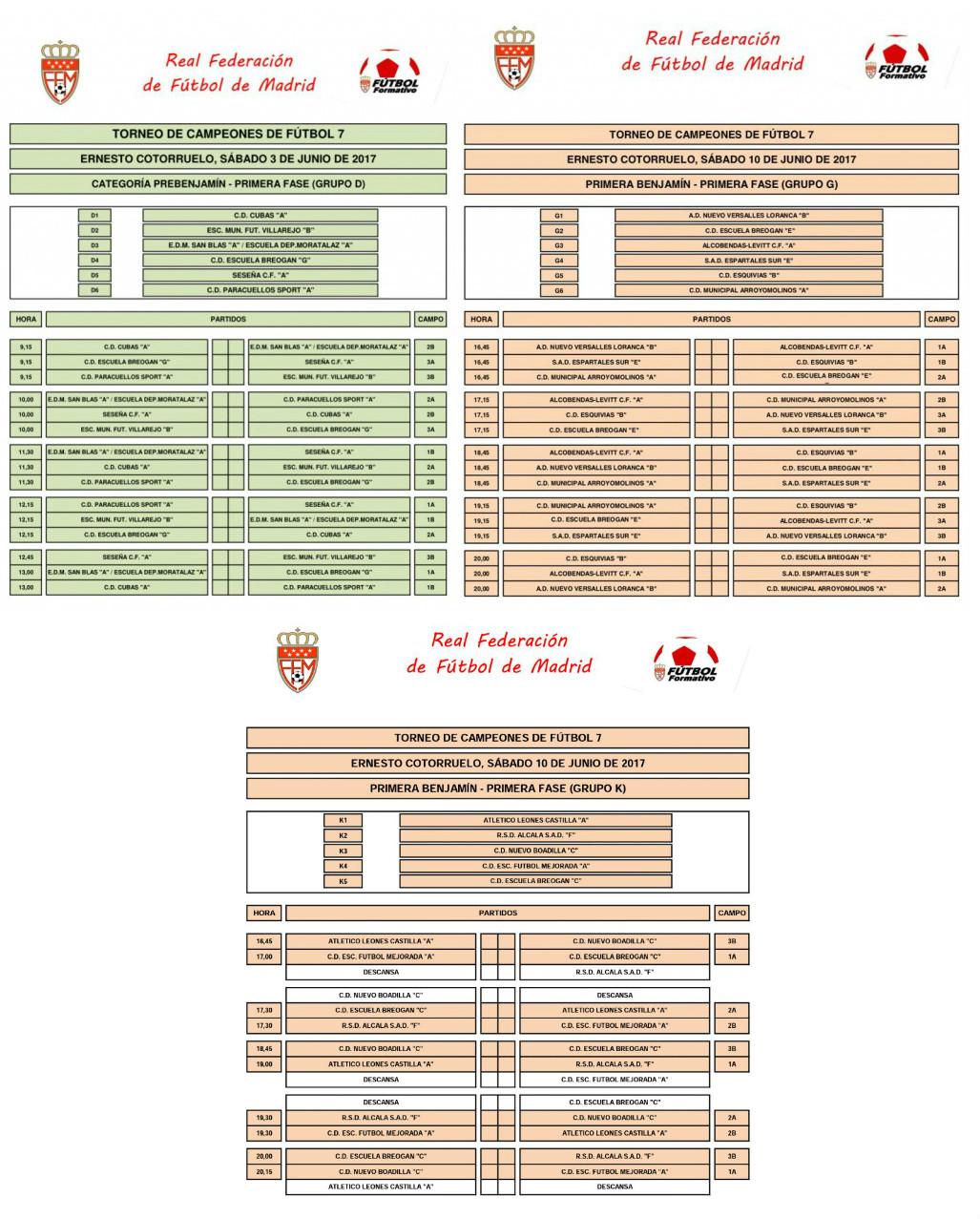 calendario Torneo de Campeones de Fútbol 7 Cotorruelo
