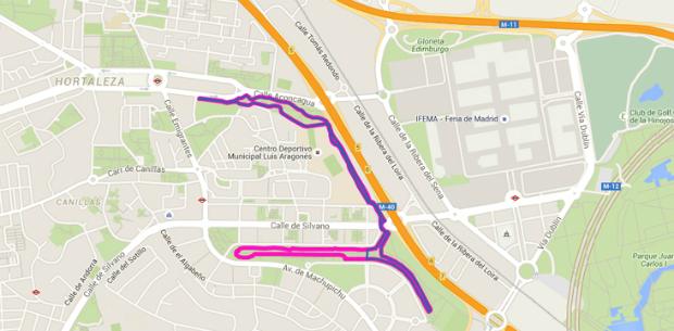 mapa circuito inclusivo de Hortaleza